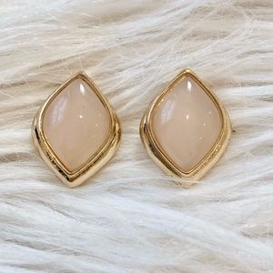 Vintage Pale Pink Moonstone and Gold Clip Earrings